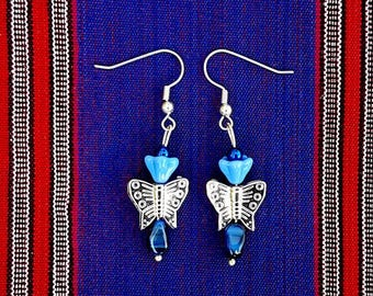 Silver/Blue Drop Style Ear Rings With Butterfly Beads