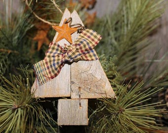 Rustic Pine Tree Ornament, Woodland Tree Ornament, Pine Tree, Primitive Tree Ornament, Holiday Ornament, Gifts for Family and Friends