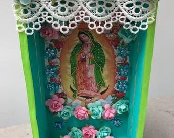 Shadow Box, Niche, Nicho, Retablo, Altar, Religious Shrine, Altered Art Shrine, Religious Art, Table Top Decor, Mixed Media Art,
