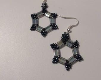 Dropper earrings,hexagonal shape,handbeaded,green,blue,hematite,pink,amber