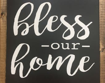 """13""""x13"""" BLESS OUR HOME Framed Wood Sign"""