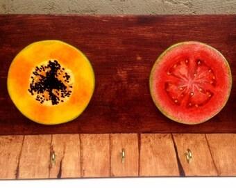 Hand painted (Fruits & vegetables) Key holder EduardoPinto Keychain home decor Organizer made hand wood