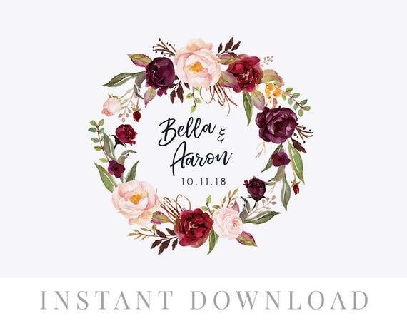 Wedding Wreath Monogram INSTANT DOWNLOAD Invite DIY Editable Logo Floral Marsala