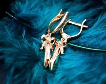 Toe Shoes Earrings-Ballet Gift-Ballerina Gift-Art Earrings-Dancer Earrings-Dangling Earrings-Dancer Gift