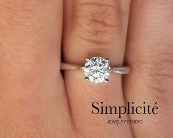 1 ct Classic Engagement Ring, SI1 Round Cut Diamond Solitaire Ring White Gold 14K