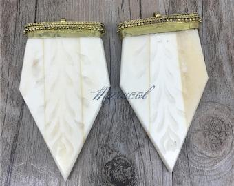 White Arrowhead Carved Bone charm Pendant with Brass Cap,handmade  tribal charm pendant MP17006