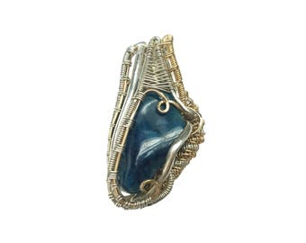 Apatite wrapped in silver and gold filled wire