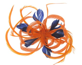 Orange and Navy fascinator clip, weddings, races, prom