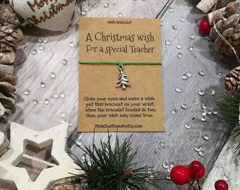 A Christmas Wish for a Special Teacher, Teacher Christmas, Teacher Gift, Teacher Christmas Gift, Teacher Wish Bracelet, Gift For Teacher
