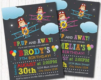 Airplane Birthday Invitation, Plane Invite, Airplane Party,  Boy Pilot, Girl Pilot, chalkboard, printable