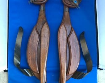 2 Vintage Mid Century Modern Wood Siamese Cat Wall Hanging with Metal Tails