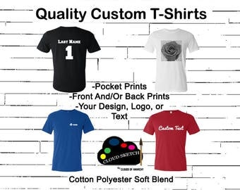 Custom T Shirt - Text Design Graphic Logo Personalized T-Shirt Unisex Multicolor Pocket Back Gift Family Bachelorette Trip Team Group Events