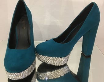 Blue suede shoes, platform and block heels, Swarovski bling, beautiful upcycled shoes