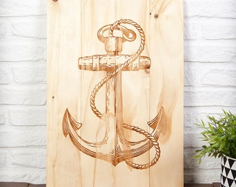 Wooden recycled with anchor print sign
