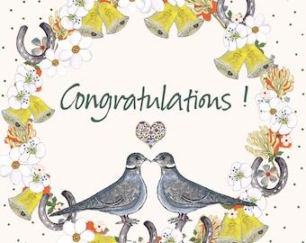 Congratulations Love Birds ! Blank Inside, Hand Printed, Potato Printed, Unusual and Beautiful