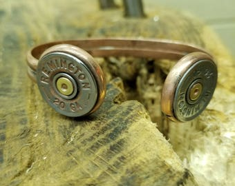 Handmade Shotgun Shell and Copper Cuff