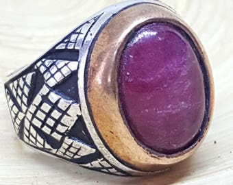 handmade  handmade 925 sterling silver men ring natural cherry ruby yaqute stone
