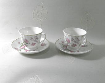 Ruby Wedding anniversary, two cups w. saucers/China/British