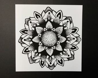 Stippled Mandala Art Print ~ Black & White Stippled / Pointillism Mandala Artwork ~ Wall Decor ~ Hand Drawn