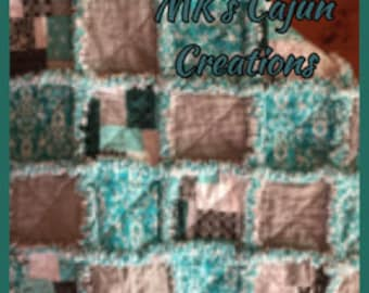 Teal and Gray Toddler Rag Quilt/Baby Rag Quilt