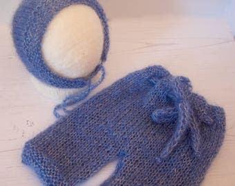 Blue Mohair Pants and Bonnet Set.