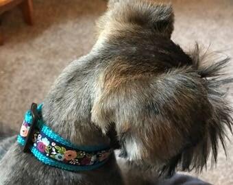 Floral Dog Collar / Whimsical Dog Collar / Flower Dog Collar / Navy Dog Collar / Spring/Summer Dog Collar/ Adjustable Dog Collar