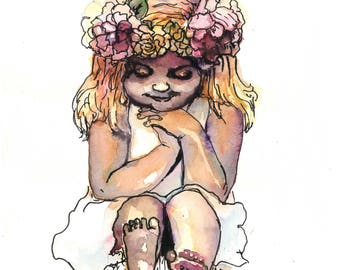 "Watercolour painting illustration portrait girl flowers original ""Make a wish"""