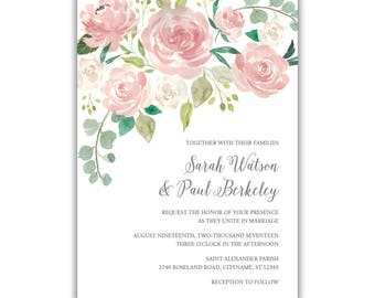 Light Pink Rose Wedding Invitation Package | Blush | Flowers | Floral | Suite | Package