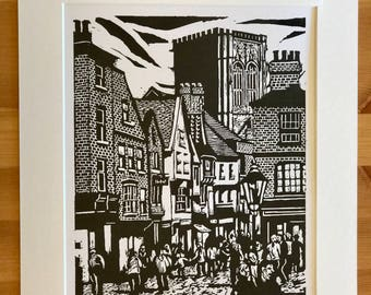 Signed Linocut Print of Stonegate in York by Maurice Ingham