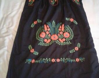 Medium - Black (Regular Length / Below Knee) Mexican Dress #R101