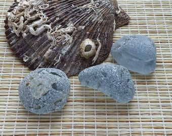 Rare Grey sea glass shards. Genuine sea glass. Grey bonfire shards. Collectible sea glass. For decor, display, terrarium #458#