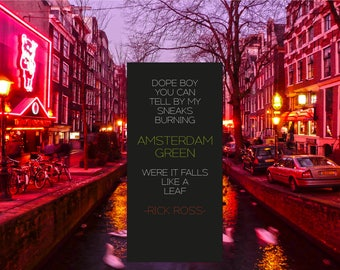 Amsterdam Canal Red Light Rick Ross Lyric Poster/Print/Wall Art