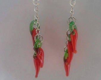 Chili dangle earrings