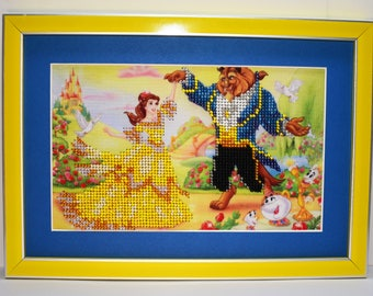 """Decor for the children's room picture embroidered with beads """"Beauty and the Beast"""" favorite cartoon gift for the girl beaded picture"""