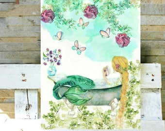 Watercolor Blonde Mermaid Reading - The little Mermaid