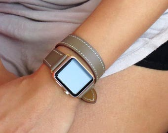 Double Tour Leather Apple Watch Band 38mm Apple Watch Band 42mm iWatch Band 38mm Apple iWatch Strap Apple Watch Strap Driftwood Brown