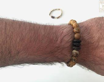 Beaded bracelet Jasper land with 3 rings of wood