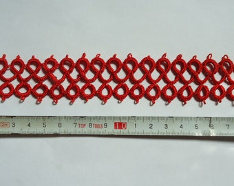"Hand-Tatted Bracelet ""Mesh"" with Carabiner Clasp – Romantic, Bridal, Vintage, Retro, Wedding, Antique"