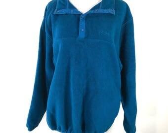 Vintage LL Bean Blue Pullover Fleece Freeport Maine USA Made Medium