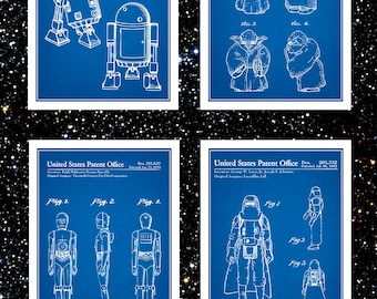 Star Wars Patent Prints Set Of 4, Star Wars Gift, Star Wars Art, Sci Fi Poster, R2D2 Art, 3CPO Art, Yoda Art, Storm Trooper Art, Lucas Films