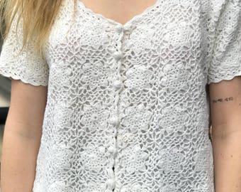 white short sleeve cotton crochet top
