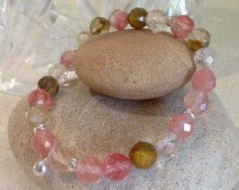 Pink Tone Semi-Precious Stone Stretchy Bracelet