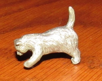 Vintage Rawcliffe Pewter Miniature Cat Figurine, New Old Stock