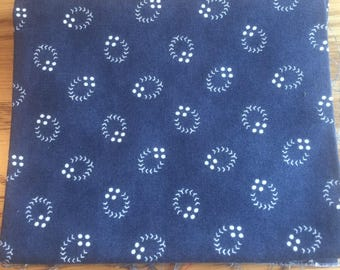 Blue with White Abstract Pattern Fat Quarter