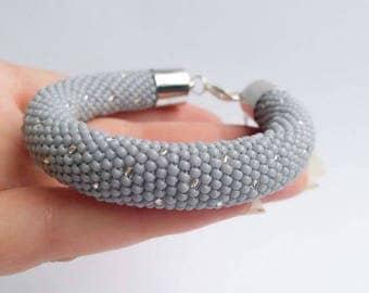 Glow in the dark beaded crochet bracelet, shine in dark light, modern & stylish, gift for her, tight, solid feminine bracelet