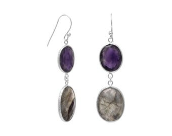 Freeform Amethyst and Labradorite Earrings, Silver Earrings