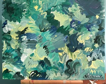 "Sounds"" - Green abstract acrylic painting"