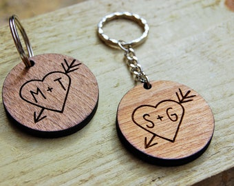 Personalised Wooden Heart Keyring, Engraved Wood, Birthday Gift, Anniversary, Laser Engraved, Wooden Keyring, Unique Gift Ideas, Carved Love
