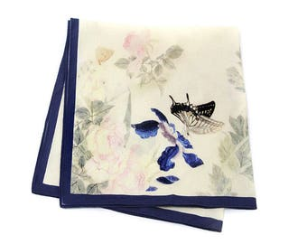 Ladies Handkerchief, Mini Scarf ,Neck Scarf, Hair Scarf, Korean Patterned, Korean Traditional Pattern, Flowers and Butterflies, Gift for her