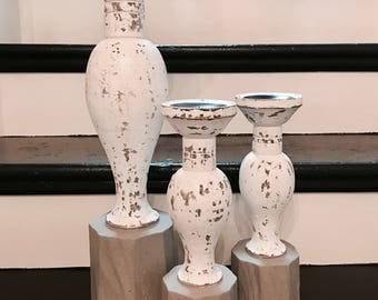 NOW SOLD Set of 3 Candlestick Holders